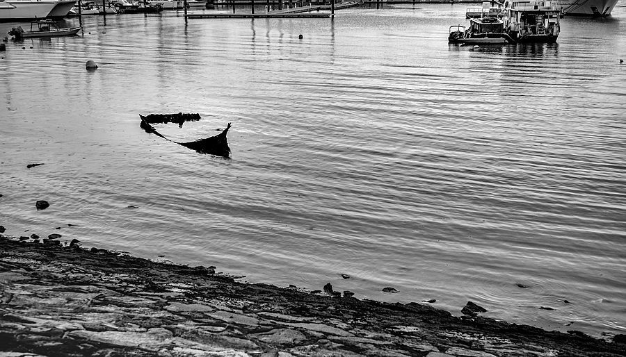 Sunken sampan at low-tide | LEICA 50MM F1.4 SUMMILUX 2ND VERSION <br> Click image for more details, Click <b>X</b> on top right of image to close