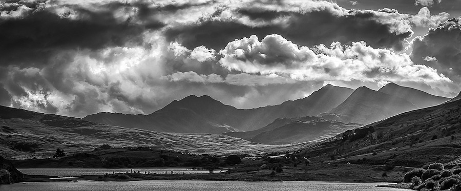 Clouds over Snowdon (Monochrome) | LENS MODEL NOT SET <br> Click image for more details, Click <b>X</b> on top right of image to close